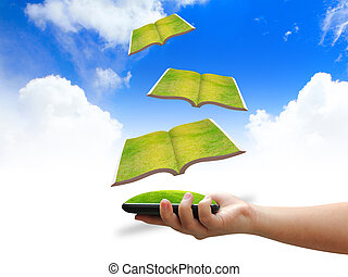 hand holding Flying books ,education concept