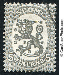 Coat of arms of Finland - FINLAND - CIRCA 1929: stamp...
