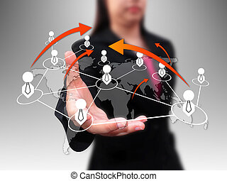 businesswoman holding social network