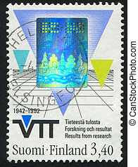 Triangles and grid - FINLAND - CIRCA 1992: stamp printed by...