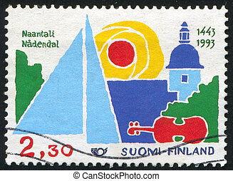 Tourism - FINLAND - CIRCA 1993: stamp printed by Finland,...