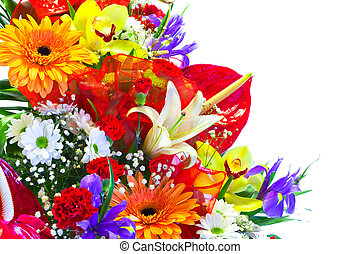 Bright Summer Flower Bouquet isolated on white