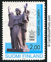 monument - FINLAND - CIRCA 1994: stamp printed by Finland,...