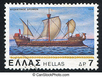 Byzantine corvette - GREECE - CIRCA 1978: stamp printed by...
