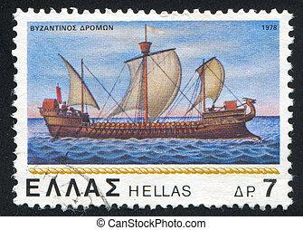 Byzantine corvette - GREECE - CIRCA 1978: stamp printed by...