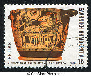 Priam Requesting - GREECE - CIRCA 1983: stamp printed by...