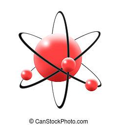 Illustration of atom, nuclues, proton, neutron & electron -...
