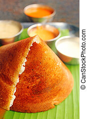 Masala Dosa - Closeup macro photo one of the most popular...