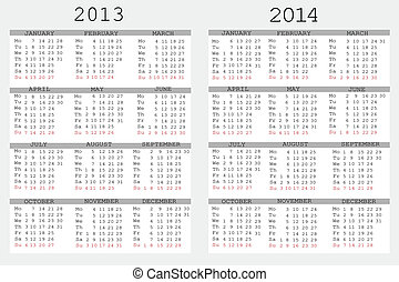 Set of 2013 and 2014 Calendar for your notebook