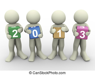 3d men with year 2013 - 3d render of people holding colorful...