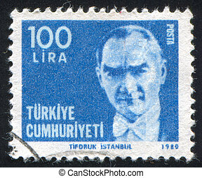 Kemal Ataturk - TURKEY - CIRCA 1980: stamp printed by...
