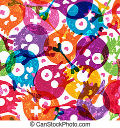 Skulls seamless pattern - Multicolor seamless pattern with...