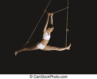 mujer, joven, gimnasta
