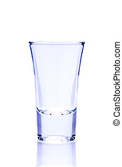 empty shot glass isolated on a white background