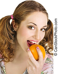 pretty young woman with orange
