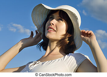 Attractive  woman with a hat