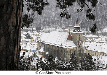 black church in brasov in wintertime, transylvania, romania