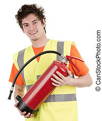 Man with a fire extinguisher - A man holding a...
