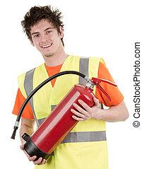 hombre, fuego, Extintor