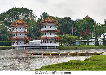Chinese pagoda in Chinese Garden. Singapore