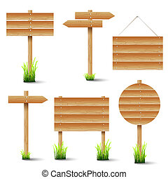 Vector set of wooden signs