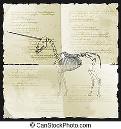 Ancient skeleton of unicorn on old papyrus. Vector...