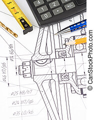 pen, pencil and tape measure on drafting