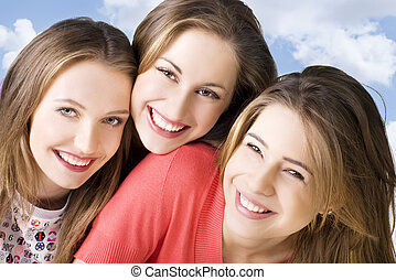 Group of happy friends - Portrait of three young beautiful...