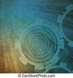 Paper with pattern gear background Style Grunge - Paper with...
