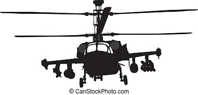 Helicopter silhouette - Russian Ka-52 (Hokum B) attack...