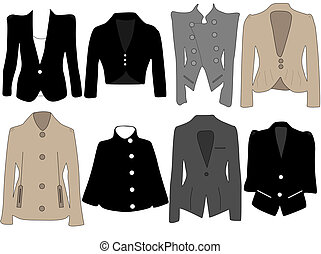 Womens jackets - Vector illustration of womens jackets