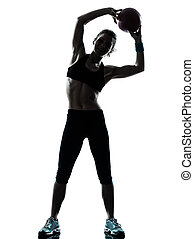 woman exercising fitness ball workout workout - one...