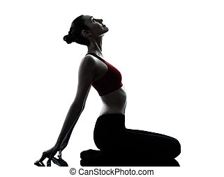 woman exercising yoga meditation - one caucasian woman...