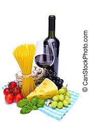 pasta and wine - italian pasta ingredients and red wine...