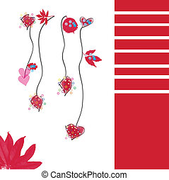 Hearts card - Lovely vector of red hearts