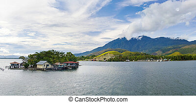 island on the lake Sentani, New Guinea