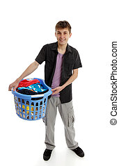 Teenager with laundry