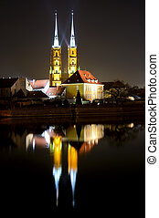 wroclaw at night - saint john the baptist cathedral in...