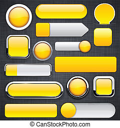 Yellow high-detailed modern buttons. - Blank yellow web...