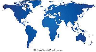 Blue world map - Vector illustration of high-detailded world...
