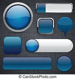 Dark-blue high-detailed modern buttons. - Blank Dark-blue...