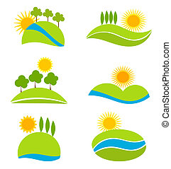 Landscapes - Landscape icons for design. Vector illustration