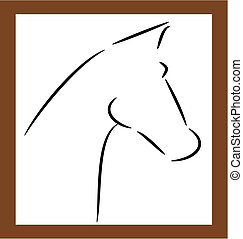 Horse outline - Horse head shape outline - vector...