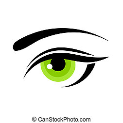 Green eye - Beautiful green woman eye. Vector illustration