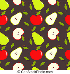 Apple and pear - Seamless texture with apples and pears