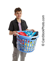 Teenager holding a basket of housework