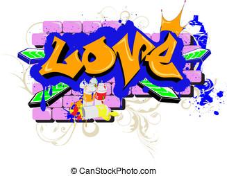 love graffiti - wall Graffiti love Urban Art Vector...