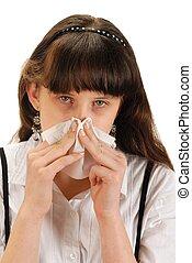 Girl with Handkerchief - Girl with handkerchief. Studio shot...