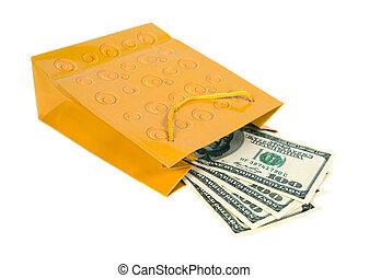 袋, 贈り物, お金, 隔離された, 背景, 白