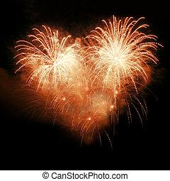 fuegos artificiales, noche, cielo